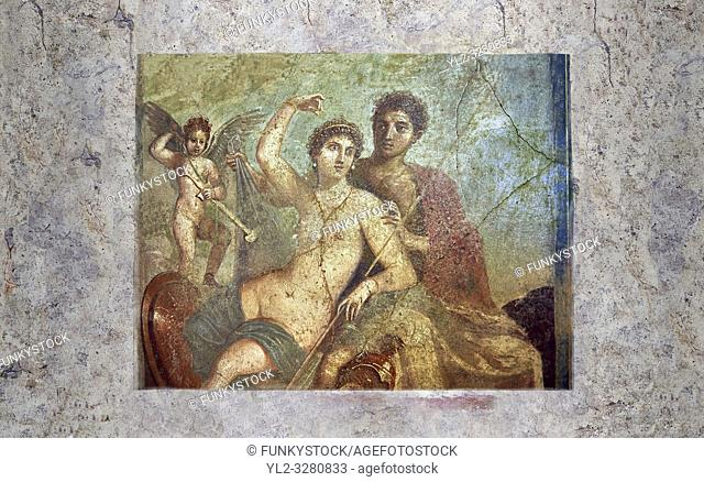 Roman fresco of the divine lovers Venus and Mars, Naples National Archaeological Museum , one of the best paintings excavated from Pompeii