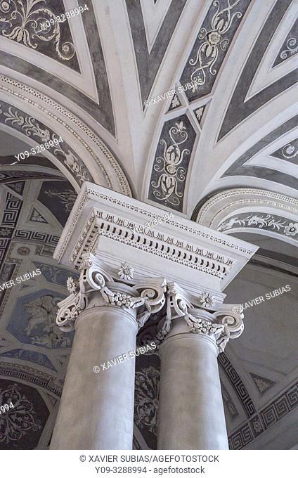 Columns, Monumental staircase, Monastery Benedictine, Catania, Sicily, Italy