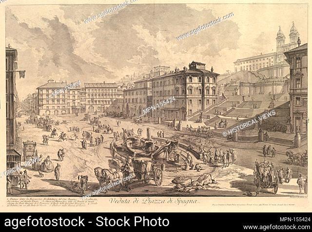 The Piazza di Spagna (Veduta di Piazza di Spagna). Series/Portfolio: Vedute di Roma (Views of Rome); Artist: Giovanni Battista Piranesi (Italian