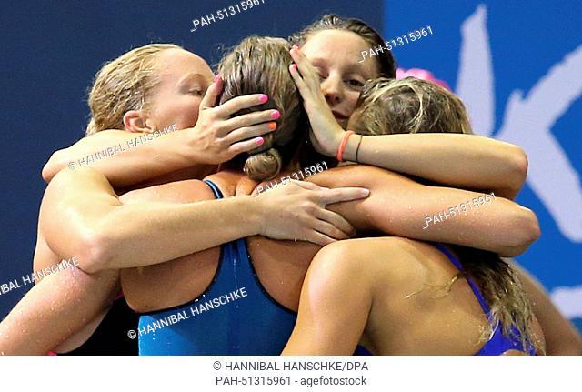 Alice Mizzau, Stefania Pirozzi, Chiara Luccetti Masini and Federica Pellegrini of Italy react after the women's 4x200m Freestyle Final at the 32nd LEN European...