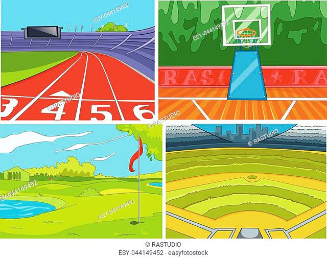 Hand drawn vector cartoon set of sport infrastructure. Colourful cartoons of sport stadiums backgrounds. Cartoon background of golf course