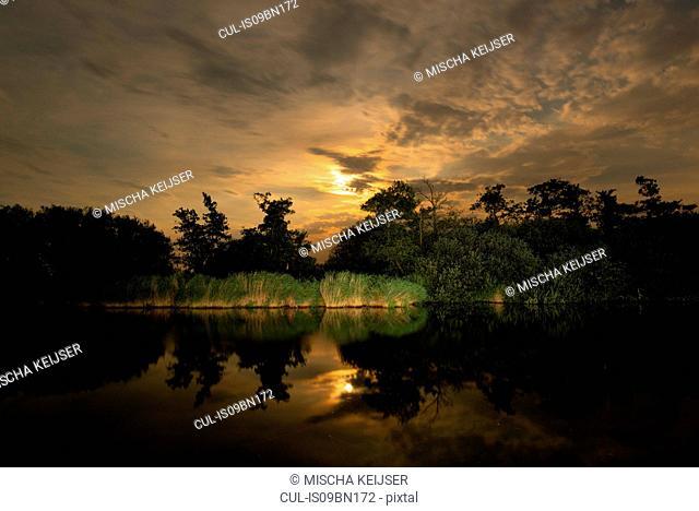 Sunset over lake, Friesland, Netherlands