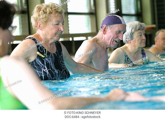 Seniors water gymnastics in the Zeiler indoor swimming pool