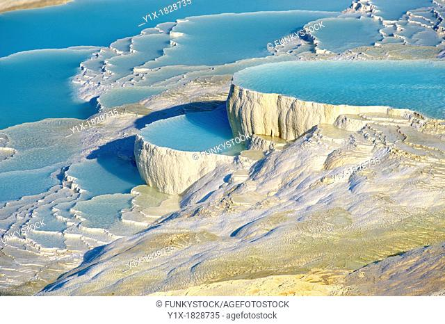 Photo & Image of Pamukkale Travetine Terrace, Turkey Images of the white Calcium carbonate rock formations
