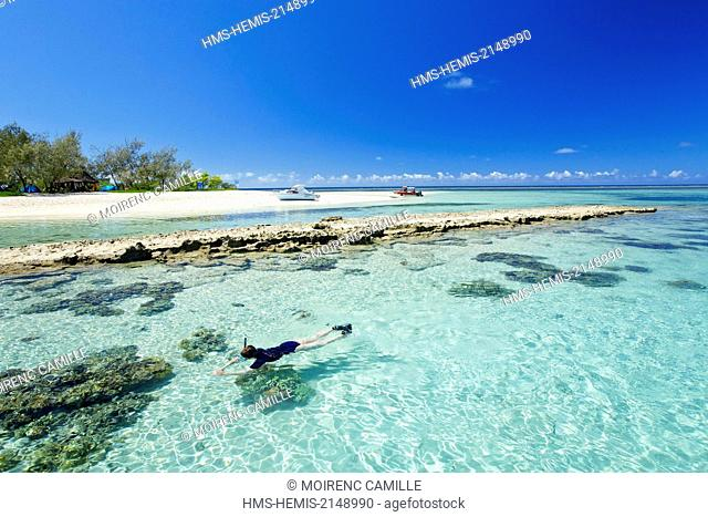 France, New Caledonia, Southern Province, off Noumea, nature reserve island Laregnere Lagoon listed as World Heritage by UNESCO