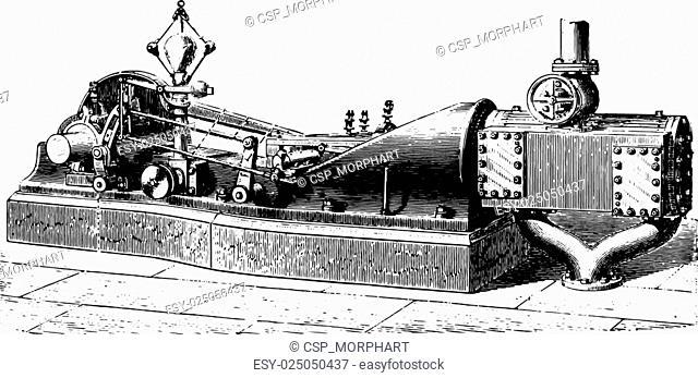 Exterior view of the horizontal machine, Type Allen Porter, vintage engraving