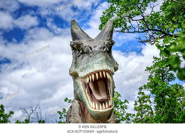 Carnotaurus at Dinosaurs Alive, life-size animatronic dinosaur, Assiniboine Park Zoo, Winnipeg, Manitoba, Canada