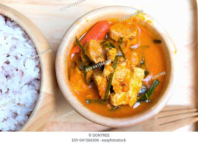 Pork panang curry served with rice menu in Thailand at the kitchen