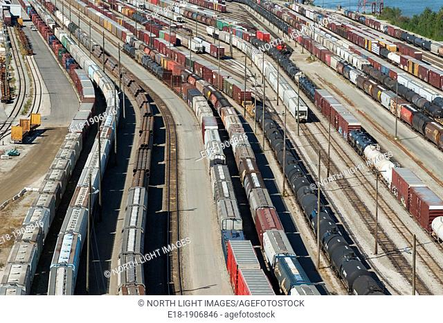 Canada, BC, Surrey  CN Rail yard beneath the Port Mann Bridge