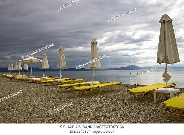 End of tourist season on Koropi beach, Pelion Peninsula, Thessaly, Greece