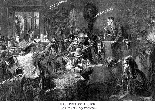 The Auction, Last Day of the Sale', the International exhibition, 1862. A print from the Illustrated London News, 6th September 1862