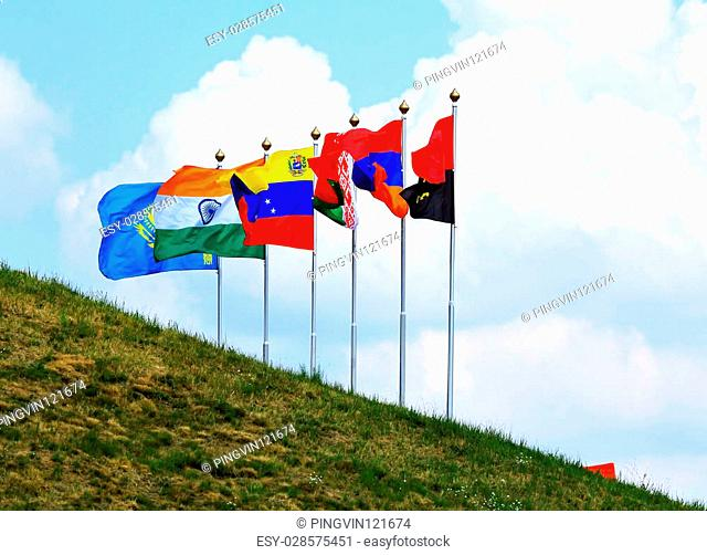 Flags of the countries participating in the tank biathlon 2014 in Russia - Angola, Armenia, Belarus, Venezuela, India, Kazakhstan