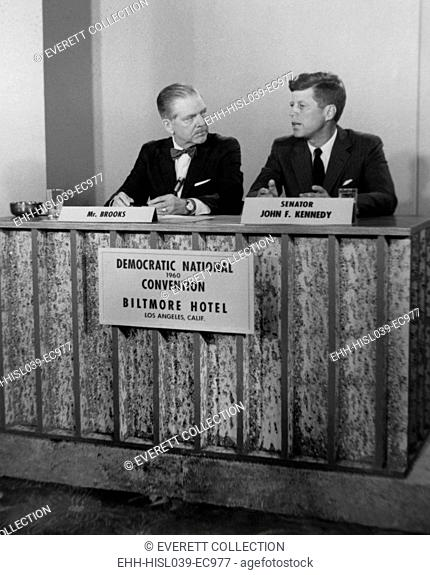 Senator John F. Kennedy on television show MEET THE PRESS. He was interviewed by Ned Brooks during the Democratic National Convention in Los Angeles, July 11-17
