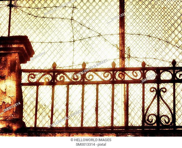 Fence and barbed wire, Sebastopol, Crimea
