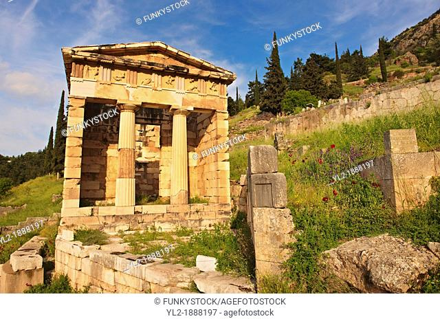 The reconstructed Treasury of Athens, built to commemorate their victory at the Battle of Marathon  Delphi, archaeological site, Greece