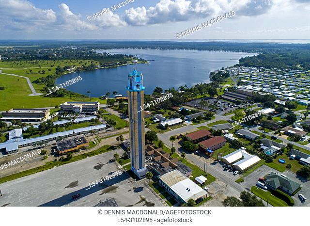 Aerial view of Lake Placid Florida a city know for the Caladium flower and festival and city of murals