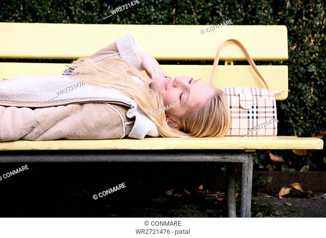 woman, lying, bench, park, smiling, free, female