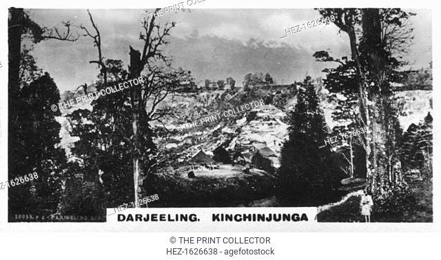 Kinchinjunga from Beechwood, Darjeeling, India, c1925. Kinchinjunga (or Kangchenjunga) is the third highest mountain in the world