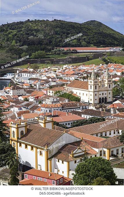Portugal, Azores, Terceira Island, Angra do Heroismo, elevated view of the Santissimo Salvador da Se cathedral church