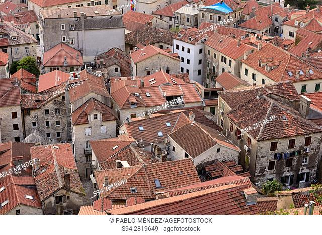 Rooves and view of Kotor, Montenegro