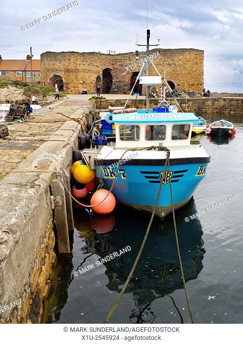 Fishing Boat in the Harbour by the Lime Kilns at Beadnell Beadnell Northumberland England