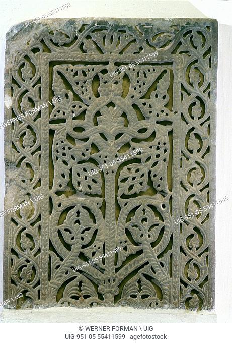 A carved marble slab from the palace of Caliph Abd al Rahman 111 at alZahra, near Cordoba