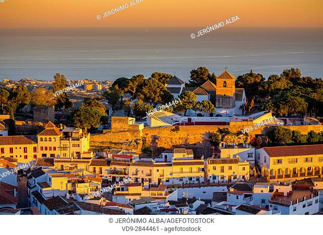 White village of Mijas at sunset. Malaga province Costa del Sol. Andalusia Southern Spain, Europe