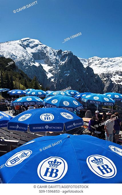 The terrace cafe and umbrellas of Kehlsteinhaus, location of Hitler's 'Eagle's Nest' residence in Berchtesgaden, Obersalzburg, Bayern, Germany