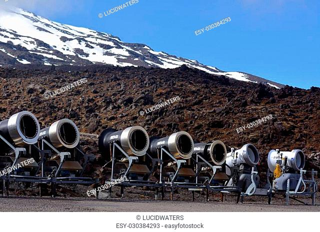 NATIONAL PARK, NZ - DEC 8 2014:Snow Gun Snowmakers in Whakapapa skifield on Mount Ruapehu.Snow making allows ski resorts to improve the reliability of their...