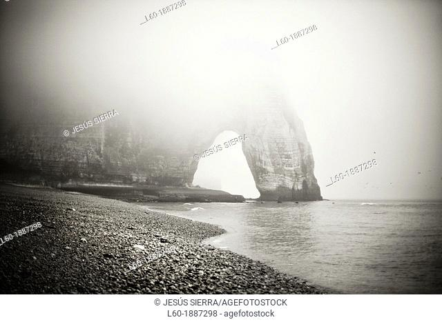 Fog in Etretat, Normandy, France