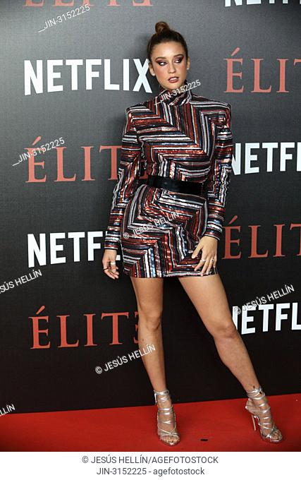 Actress MARIA PEDRAZA attends 'Elite' premiere at Reina Sofia Museum. Premiere of the Élite series, which premieres Netflix -it is its second Spanish original...