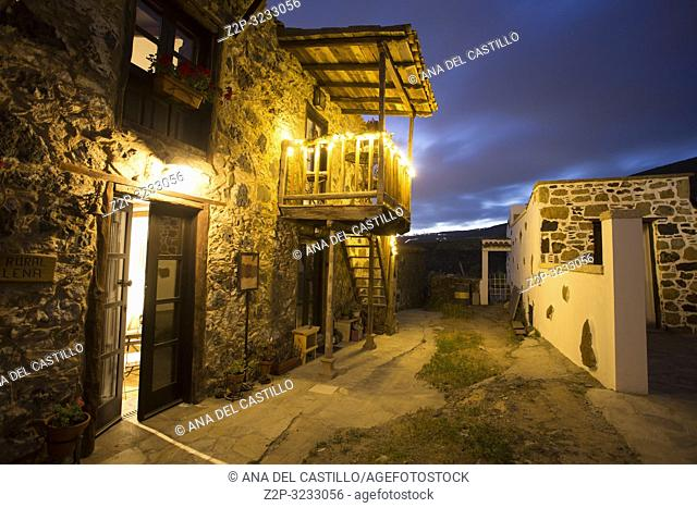 Old houses in Charco del Pino by night in Tenerife Canary islands Spain