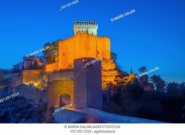 Castle, night view. Alarcon, Cuenca province, Castilla La Mancha, Spain