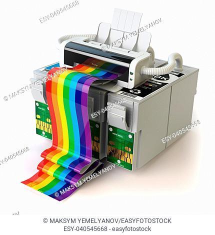 Printer and CMYK cartridges for colour inkjet printer isolated on white. 3d illustration
