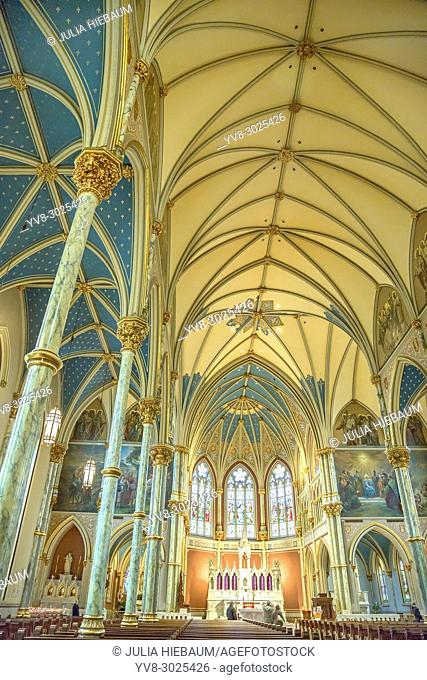 The inside view of the Cathedral of St. John the Baptist in Savannah, Georgia
