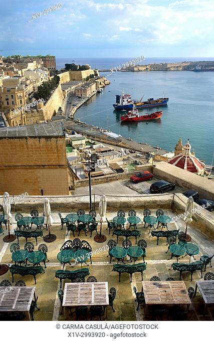 The Grand Harbour and Panoramic seen from Barrakka Gardens. Valletta, Malta