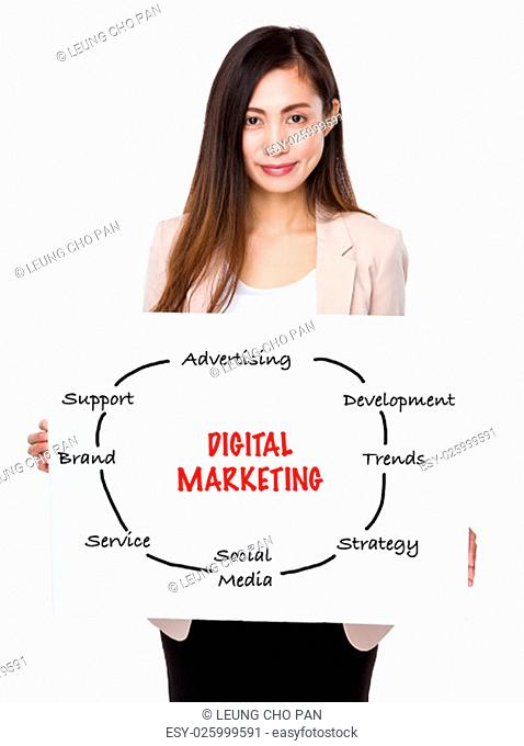 Businesswoman holding a board showing with digital marketing concept