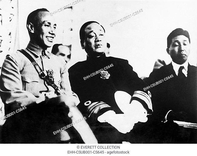 General Chiang Kai-shek and Admiral Yang Xuancheng, ca. June 1927. Right wing factions of Chiang's Kuomintang Party led the Shanghai Massacre of Communists on...