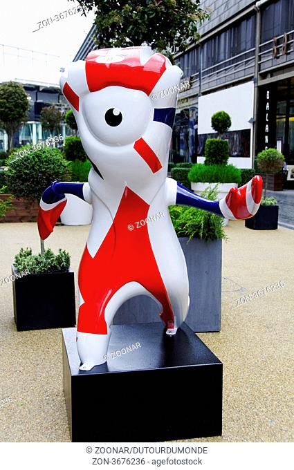Mandeville is the London 2012 Paralympic Games mascot, in Westfield commercial centre, Stratford, London, UK
