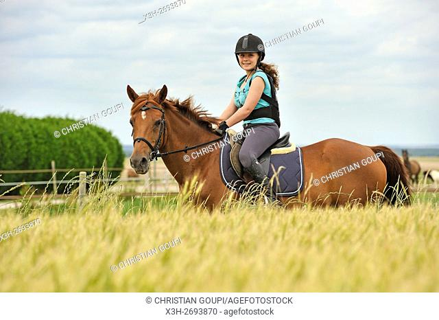 teenager riding pony in the countryside, Eure et Loir department, region Centre-Val de Loire, France, Europe