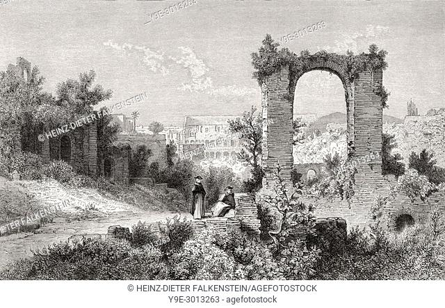 View from the Palatine Hill, Rome, Italy, 19th Century