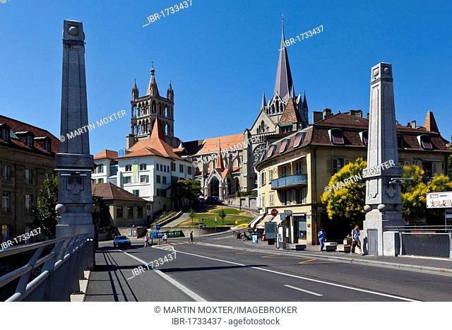 View from the Bessieres bridge on the Cathedral of Notre-Dame, former episcopal church of the diocese of Lausanne, now main Protestant church of the city of...