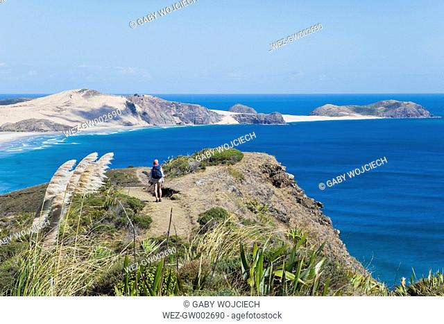 New Zealand, Northland, Cape Reinga area, Woman hiking Cape Maria van Diemen Trail