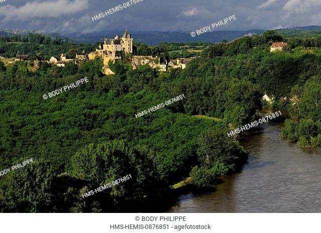 France, Dordogne, Perigord Noir, Vitrac, the castle of Montfort of Montfort in the lashes