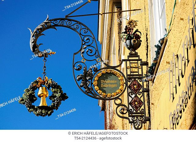 Wrought iron inn sign with a wine glass / Memmingen, Germany