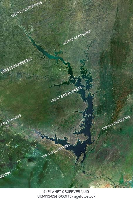 Satellite view of Lake Volta, in Ghana. It is the largest reservoir by surface area in the world, and the fourth largest by volume