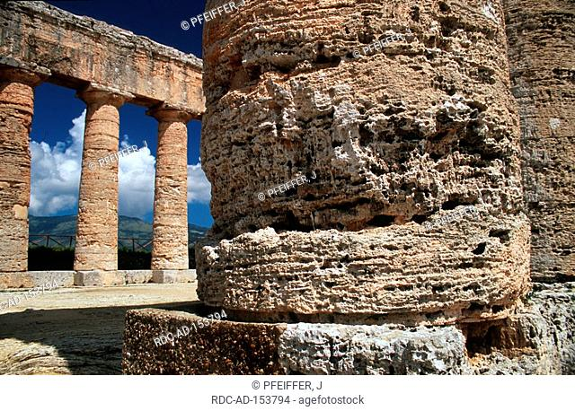 Ruin of greek temple corrosion at column Segesta Sicily Italy columns