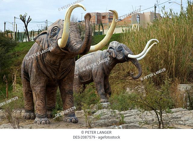 Prehistoric Animals At El Caracol Paleontological Theme Park, Aguascalientes, Mexico