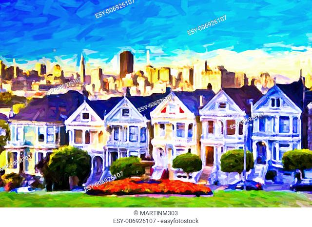 Victorian houses in San Francisco, post process painting art, SF, USA