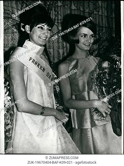 Apr. 04, 1967 - Miss Denmark 1967: 20-year old mannaquin, Gitte Rhein-Knudsen was last week elected as Miss Denmark from among hundreds of candidates